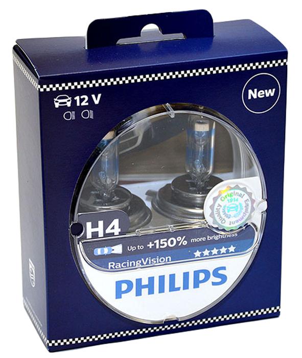 Лампа автомобильная галогенная Philips RacingVision +150, цоколь H4, 60 Вт, 2 шт телевизор philips 32pht4132 60