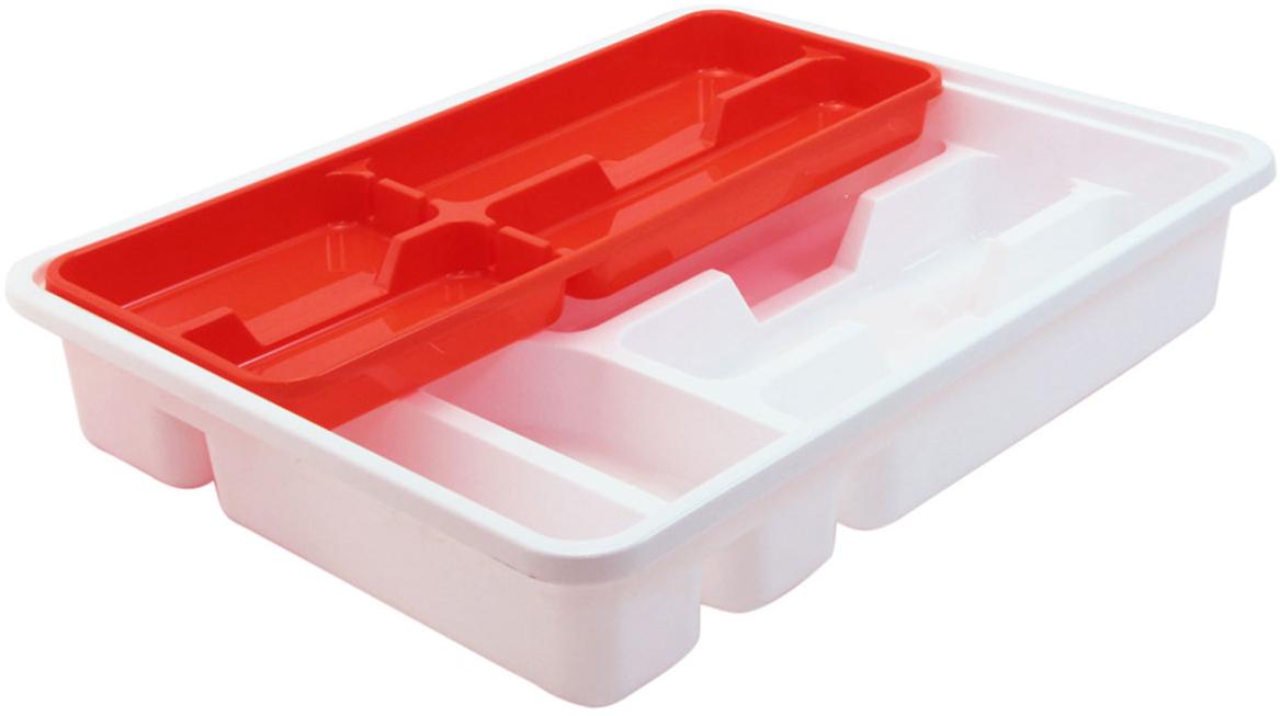Лоток-вкладыш для столовых приборов Idea, двухуровневый, цвет: белый, оранжевый цена