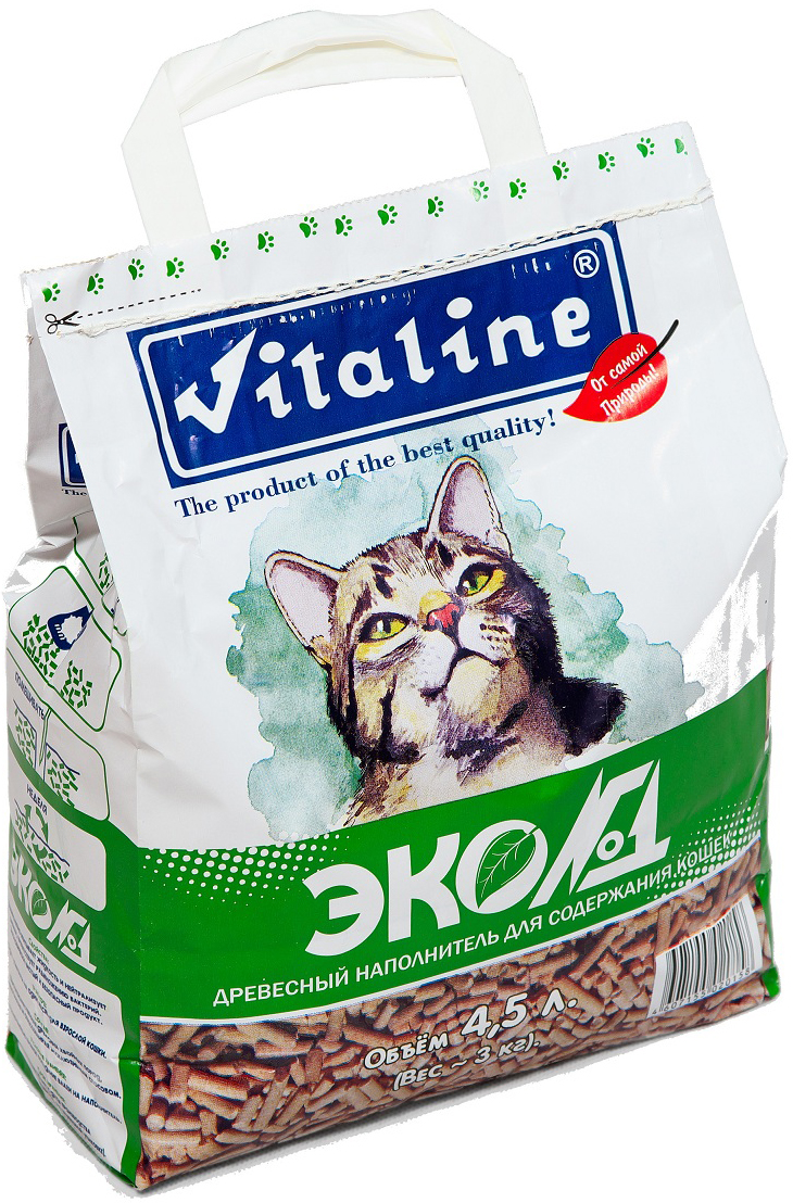 """Наполнитель для кошачьего туалета Vitaline """"Эко№1"""", древесный, 3 кг"""