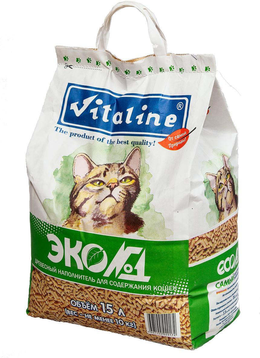 Наполнитель для кошачьего туалета Vitaline Эко№1, древесный, 15 л наполнитель для кошачьего туалета vitaline из лиственных пород древесины 4 5 л