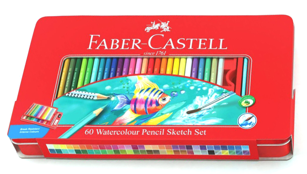 Faber-Castell Набор цветных акварельных карандашей Рыбки с кисточкой 60 цветов faber castell акварельные карандаши рыбки с кисточкой 36 шт