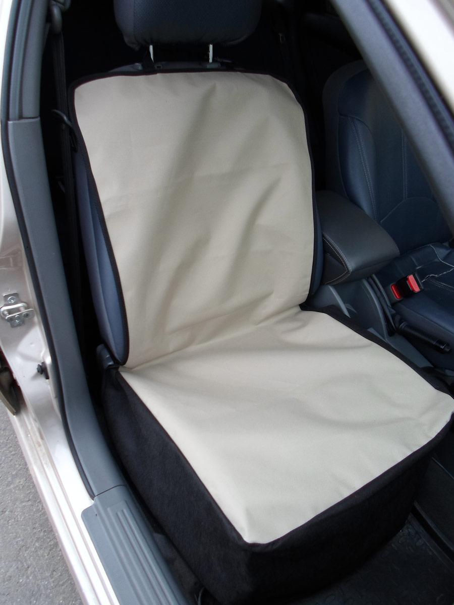 Накидка защитная для животных AvtoPoryadok, на переднее сиденье, цвет: бежевый, 110 х 49 см накидка защитная для животных avtoporyadok на переднее сиденье с карманом цвет серый 120 х 49 см