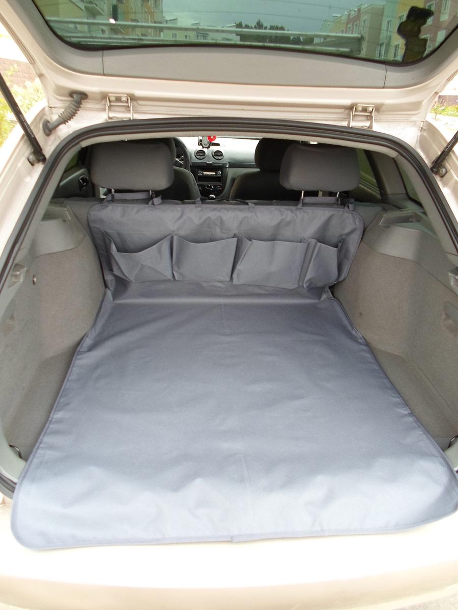 Накидка защитная для животных AvtoPoryadok, в багажник, с карманами, цвет: серый, 160 х 100 см накидка защитная для животных avtoporyadok на переднее сиденье с карманом цвет серый 120 х 49 см