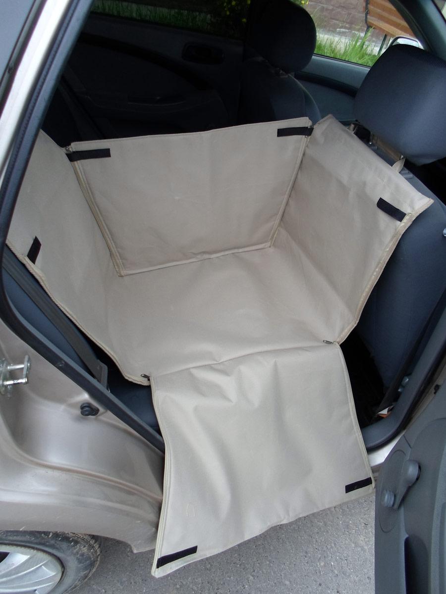 """Автогамак для животных """"AvtoPoryadok"""", на 1/3 сиденья, с защитой дверей, цвет: бежевый, 165 х 40 х 45 см"""