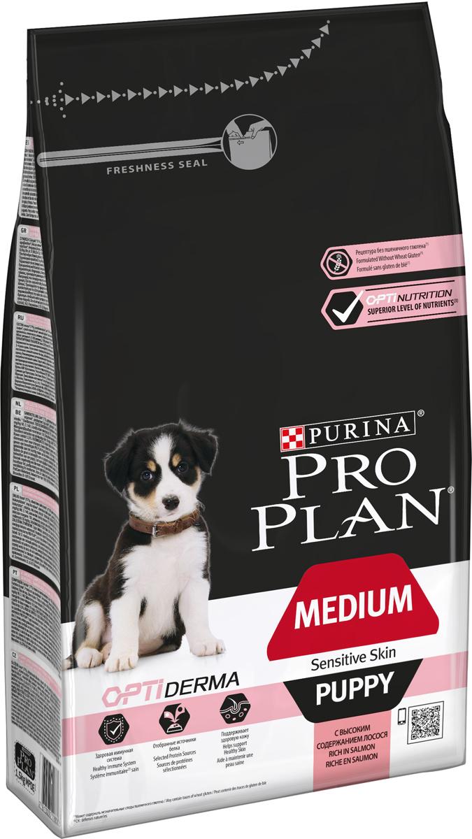 Корм сухой Pro Plan Puppy Sensitive для щенков средних пород с чувствительной кожей, с лососем и рисом, 1,5 кг корм сухой pro plan puppy medium sensitive skin для щенков средних пород весом от 10 до 25 кг с чувствительной кожей с лососем и рисом 12 кг
