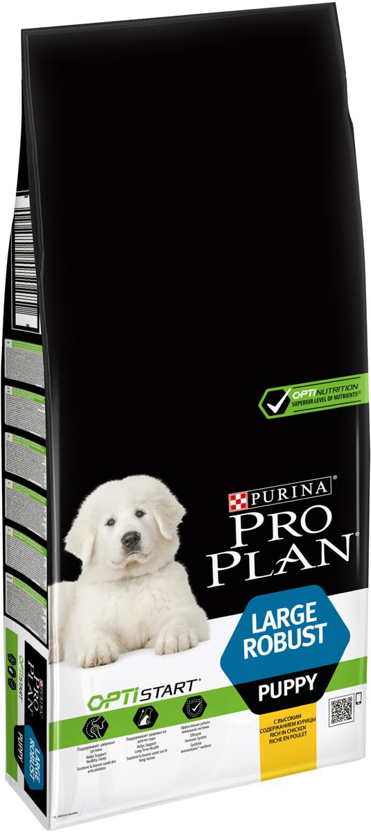 Корм сухой Pro Plan Optistart для щенков крупных пород, с курицей и рисом, 12 кг корм сухой pro plan adult large athletic для собак крупных пород с атлетическим телосложением с курицей 14 кг