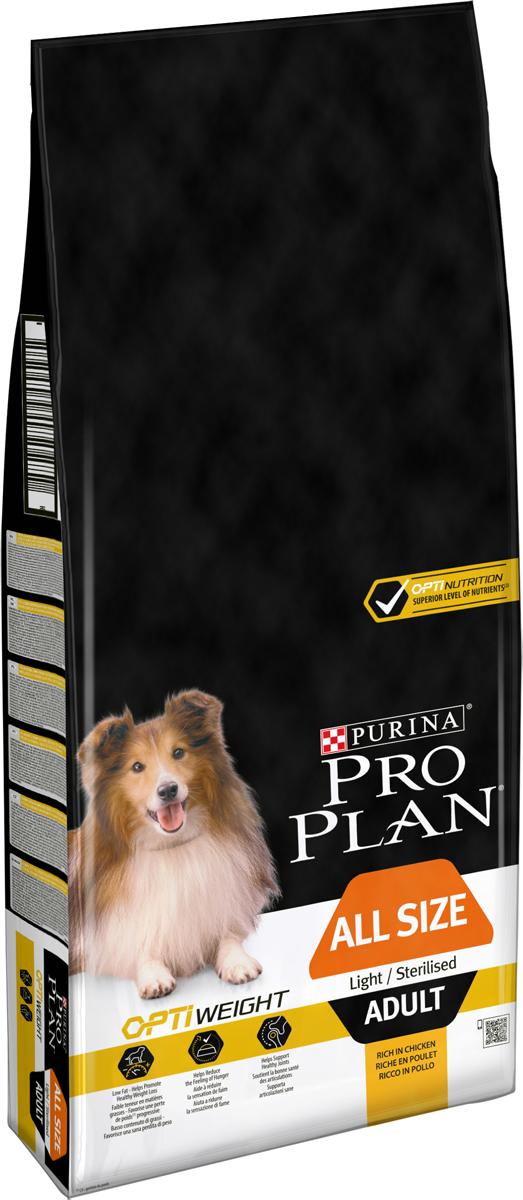 """Корм сухой Pro Plan """"Light"""", для собак, низкокалорийный, с курицей и рисом, 14 кг"""