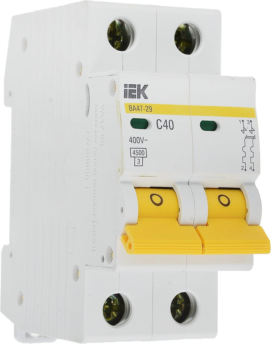 Выключатель автоматический IEK ВА47-29, 2П C 40А 4500А