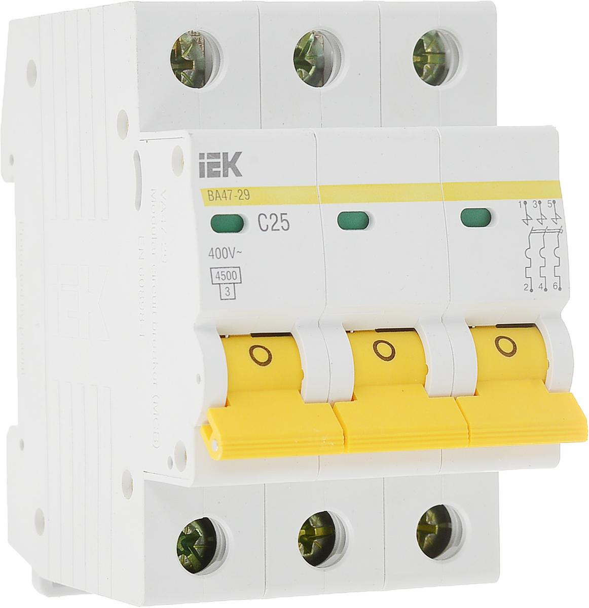 Выключатель автоматический IEK ВА 47-29, 3П C 25А 4500АMVA20-3-025-CАвтоматические выключатели ВА47-29 это механический коммутационный аппарат, способный включать, проводить и отключать токи при нормальном состоянии цепи, а также включать, проводить в течение заданного времени и автоматически отключать токи в указанном аномальном состоянии цепи, таких, как токи короткого замыкания. Автоматические выключатели предназначены для защиты распределительных и групповых цепей, имеющих различную нагрузку: - электроприборы, освещение - выключатели с характеристикой В, - двигатели с небольшими пусковыми токами (компрессор, вентилятор) - выключатели с характеристикой C; - двигатели с большими пусковыми токами (подъемные механизмы, насосы) - выключатели с характеристикой D. Автоматические выключатели ВА47-29 рекомендуются к применению в вводно-распределительных устройствах для жилых и общественных зданий. 200 типоисполнений на 18 номинальных токов от 0,5 до 63 А. Преимущества: Два типа защиты от перегрузки и короткого замыкания. Полный комплект дополнительных устройств с возможностью простой самостоятельной установки: - контакт состояния КС47; - контакт состояния КСВ47; - расцепитель минимального напряжения РММ47; - расцепитель независимый РН47. Усовершенствованная дугогасительная система: увеличенный срок службы, повышенная устойчивость к токам короткого замыкания. Возможность одновременного присоединения шиной FORK и гибким проводником для распределения питания цепи через верхние зажимы, а также возможность соединения шиной PIN. Наличие индикатора полож...