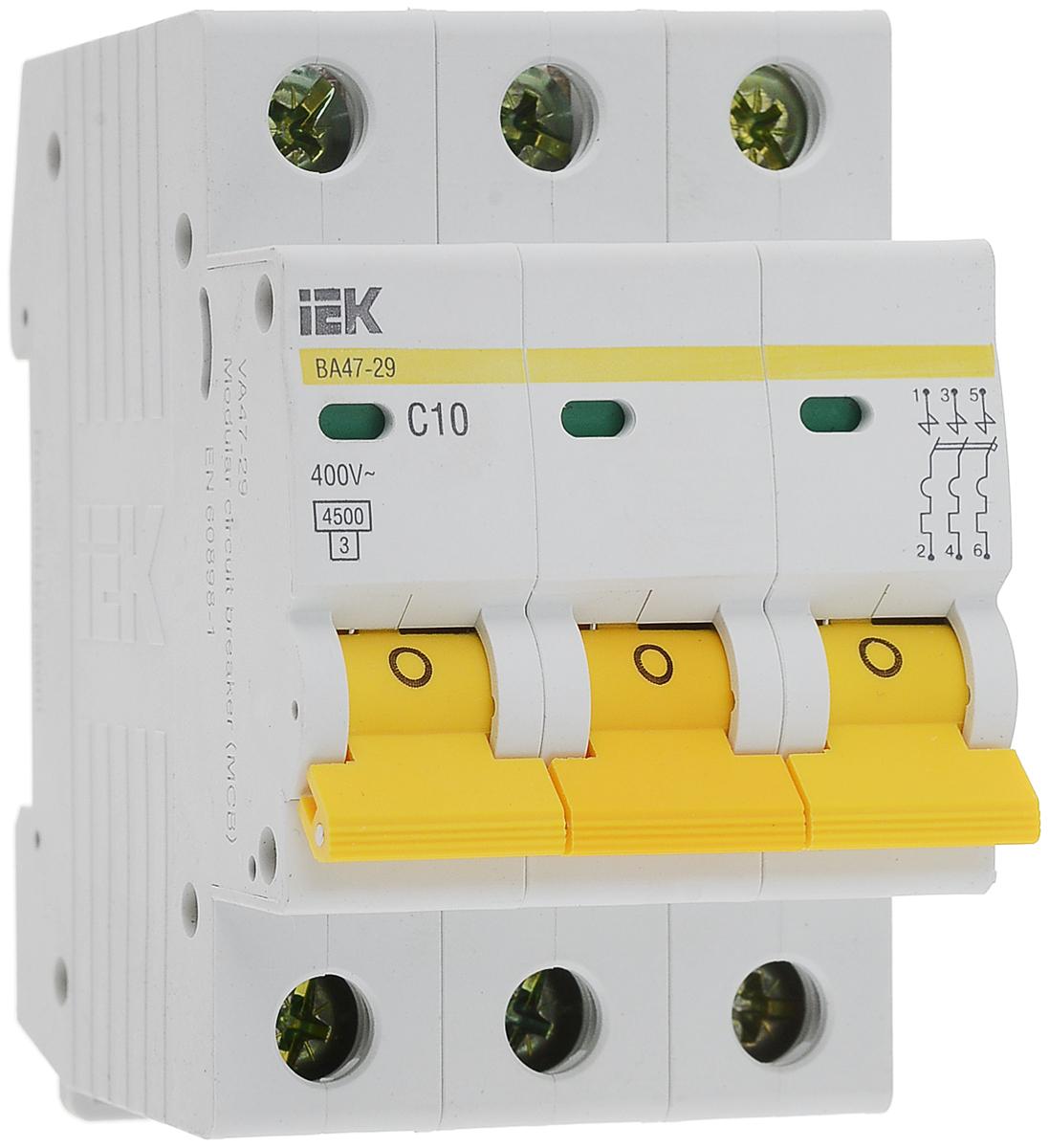 Выключатель автоматический IEK ВА47-29, 3П C 10А 4500А