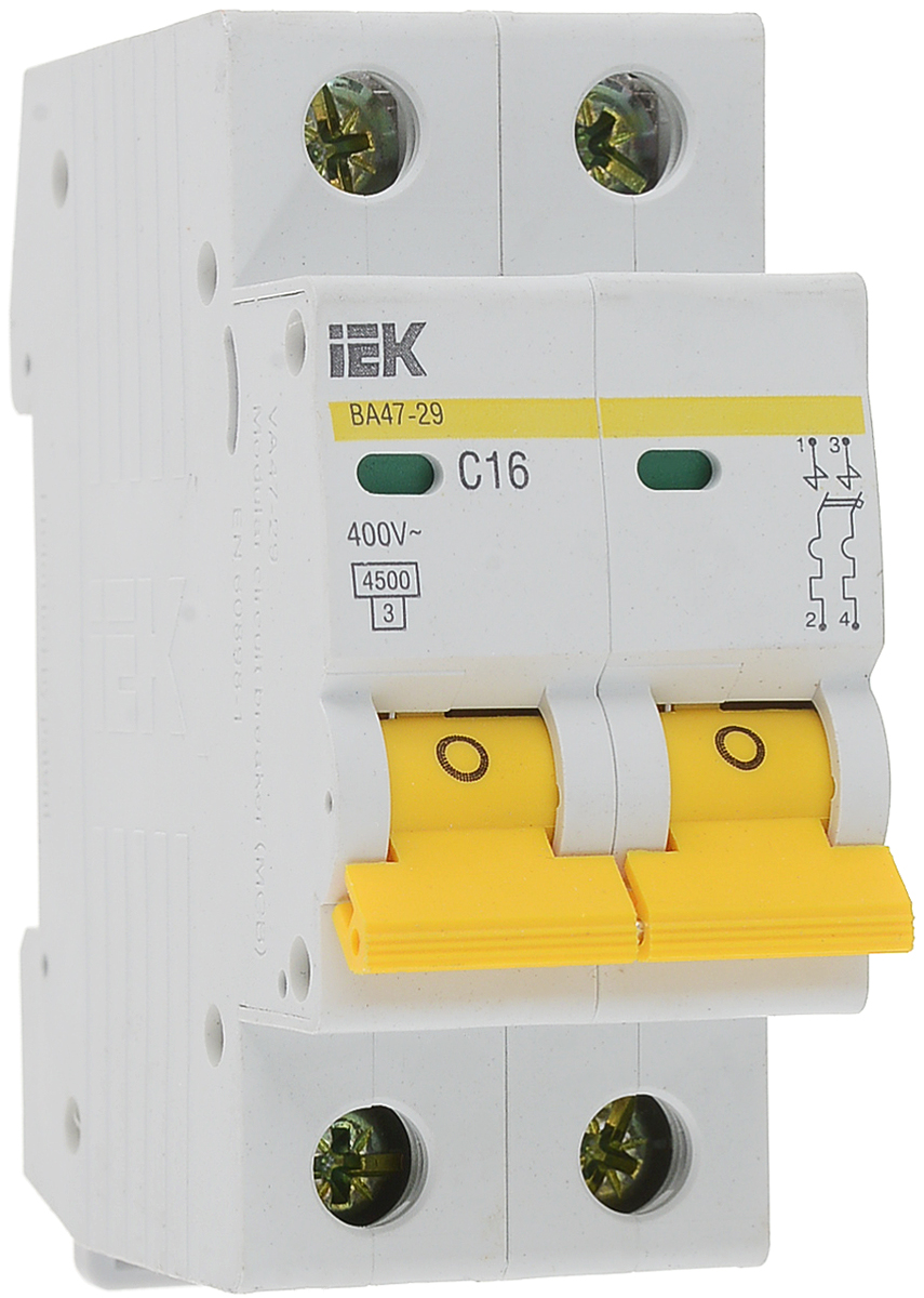 Выключатель автоматический IEK ВА47-29, 2П C 16А 4500А