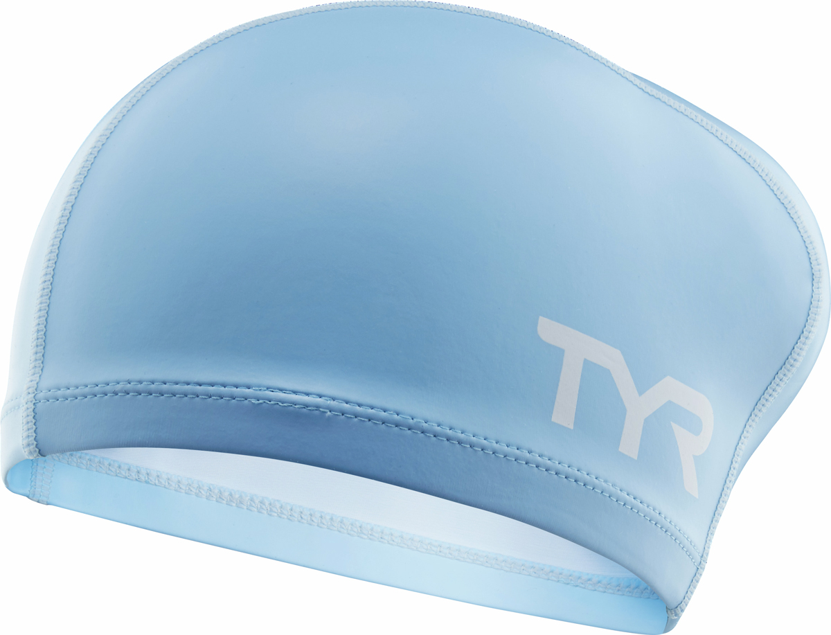 Шапочка для плавания Tyr Long Hair Silicone Comfort Swim Cap, цвет: голубой. LSCCAPLH шапочка для плавания tyr latex swim cap цвет зеленый lcl