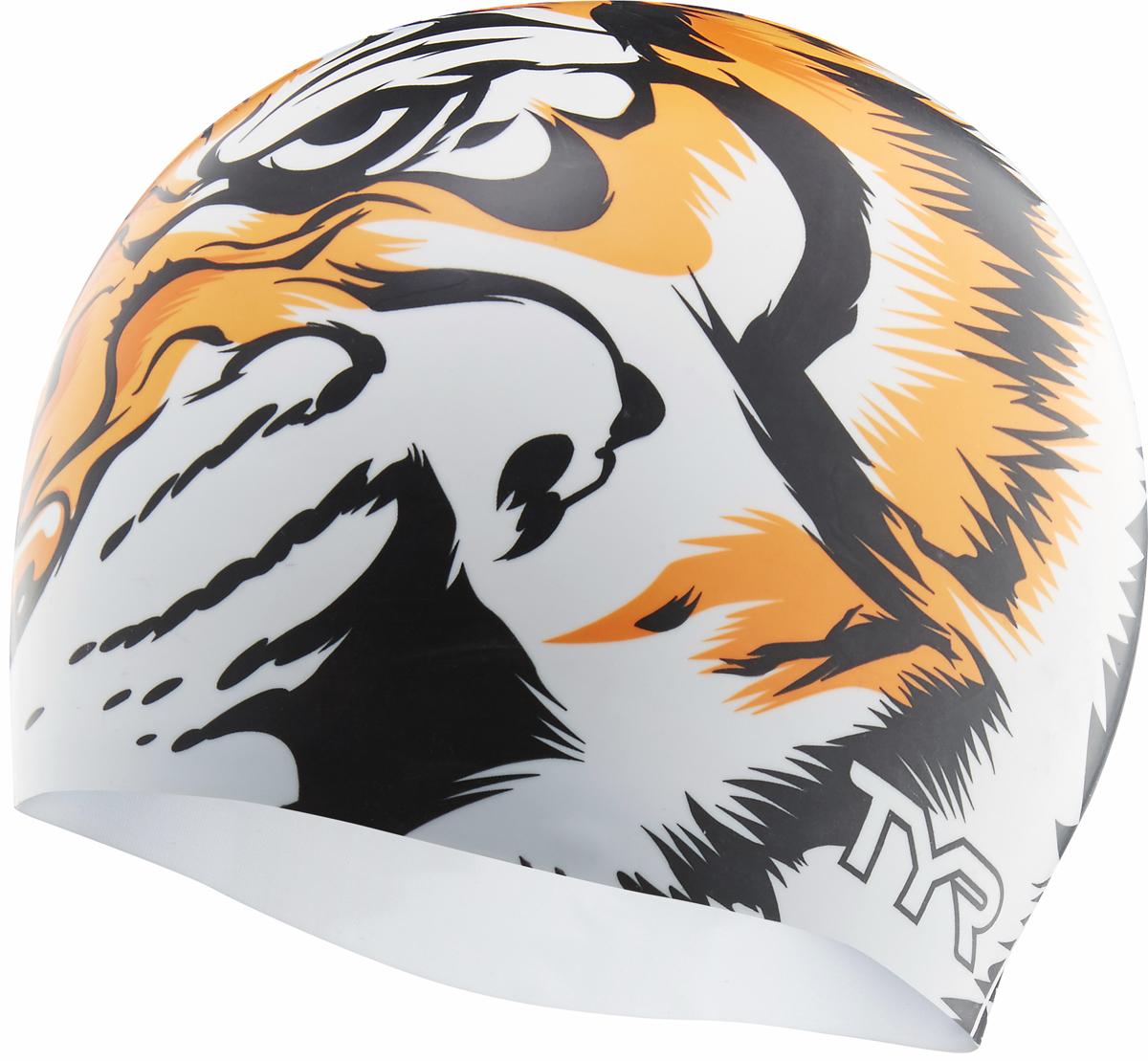 Шапочка для плавания Tyr Silicone Tiger Cap, цвет: белый, оранжевый. LCSTIGER шапочка для плавания tyr sdoc
