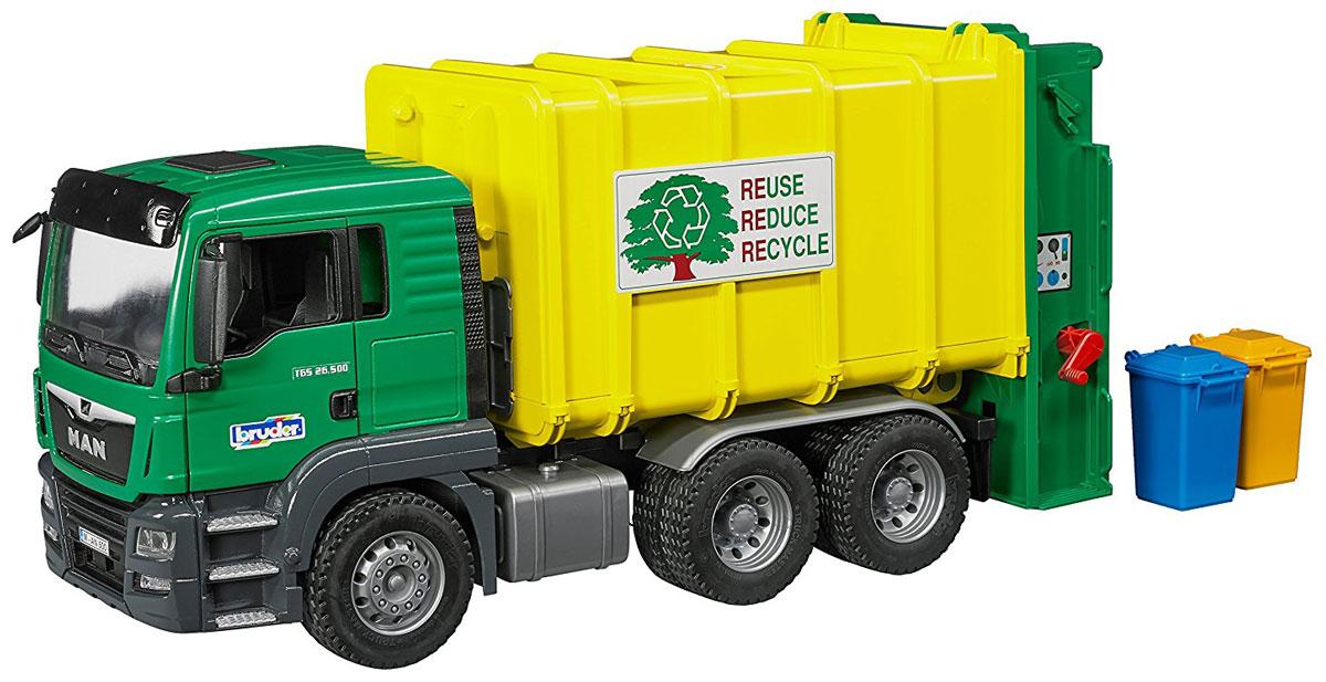 Bruder Мусоровоз Man TGS цвет зеленый желтый самосвал игрушечный bruder man tgs