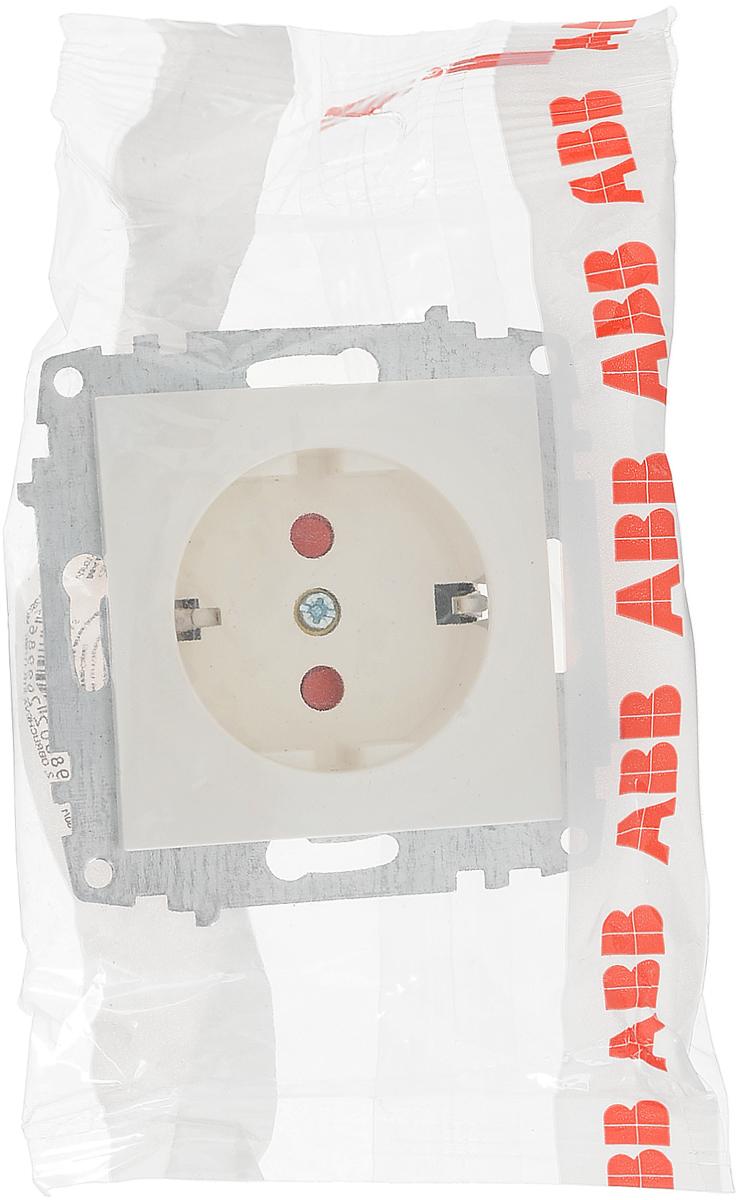 """Механизм розетки АВВ """"Cosmo"""", одноместный, с защитной шторкой, с заземлением, цвет: белый. 619-010200-243"""