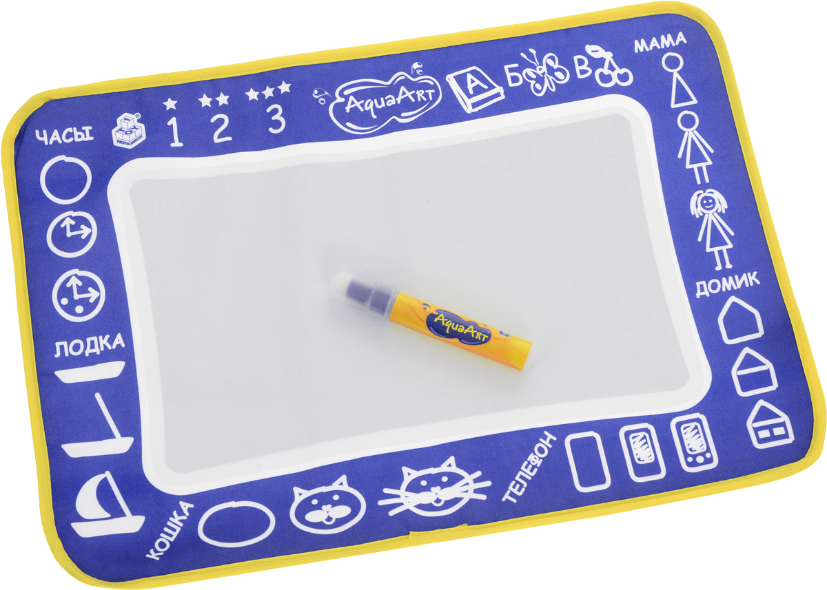 1TOY Коврик для рисования AquaArt с водным маркером цвет синий