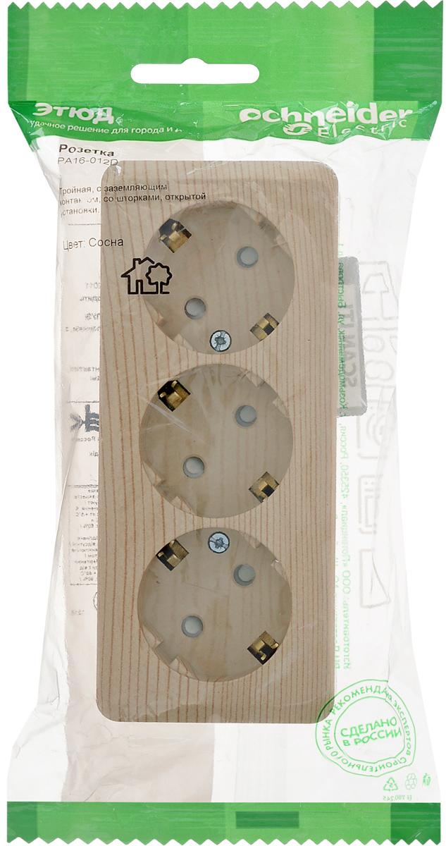 Розетка Schneider Electric Этюд, трехместная, с защитной шторкой, с заземлением, цвет: сосна. PA16-012D розетка pa16 003b этюд 1 местная открытой проводки 16а с заземлением белая schneider electric