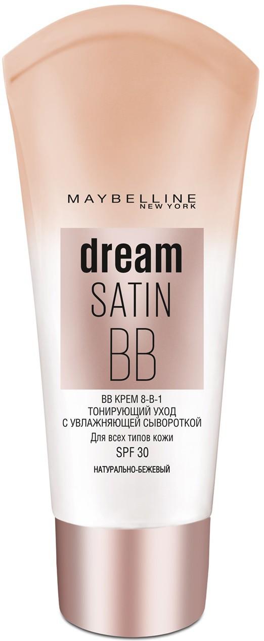 Maybelline New York BB Крем для лица Dream Satin, увлажняющий, SPF 30, натурально-бежевый, 30 мл крема для сухой кожи