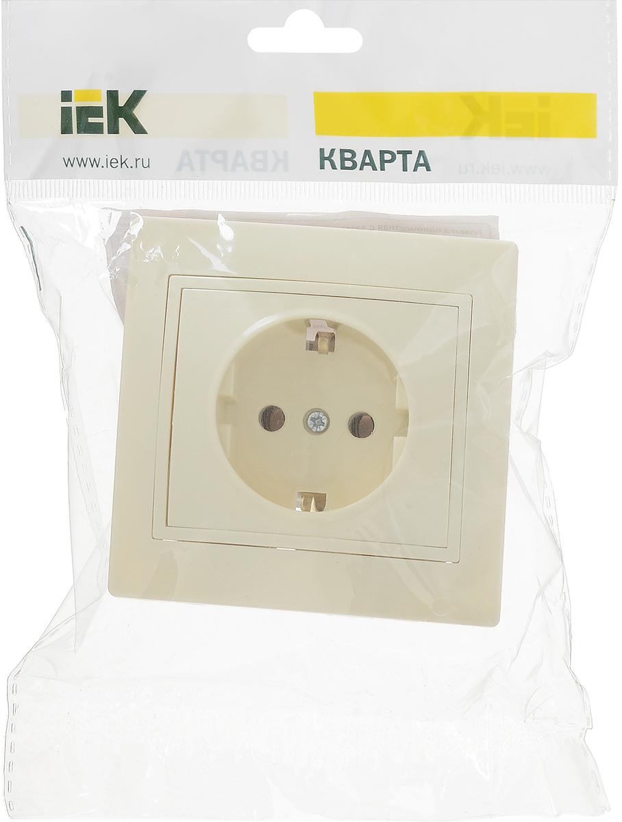 """Розетка IEK """"Кварта"""", одноместная, без заземления, цвет: кремовый, 16А. ERK14-K33-16-DM"""