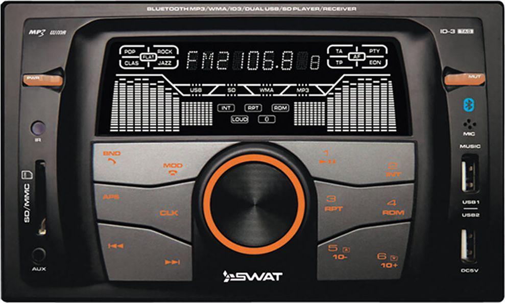Ресивер SWAT WX-216UBA/2 din, цвет: черный, 4х50 Вт, MP3, USB, SD swat wx 216uba