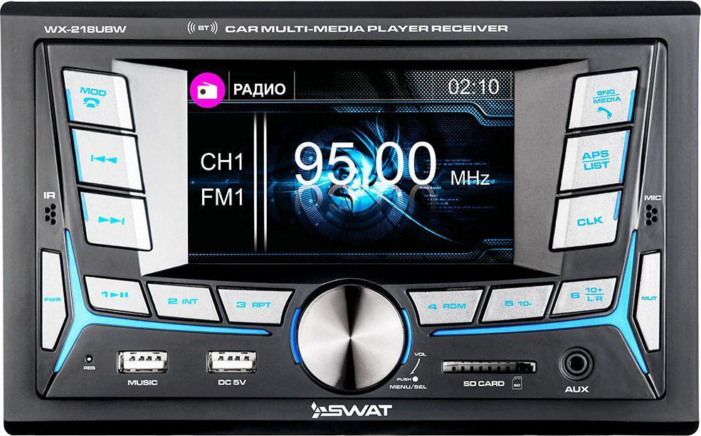Ресивер SWAT WX-218UBW/2 din, цвет: черный, 4х50 Вт, MP3, USB, 4 swat wx 216uba