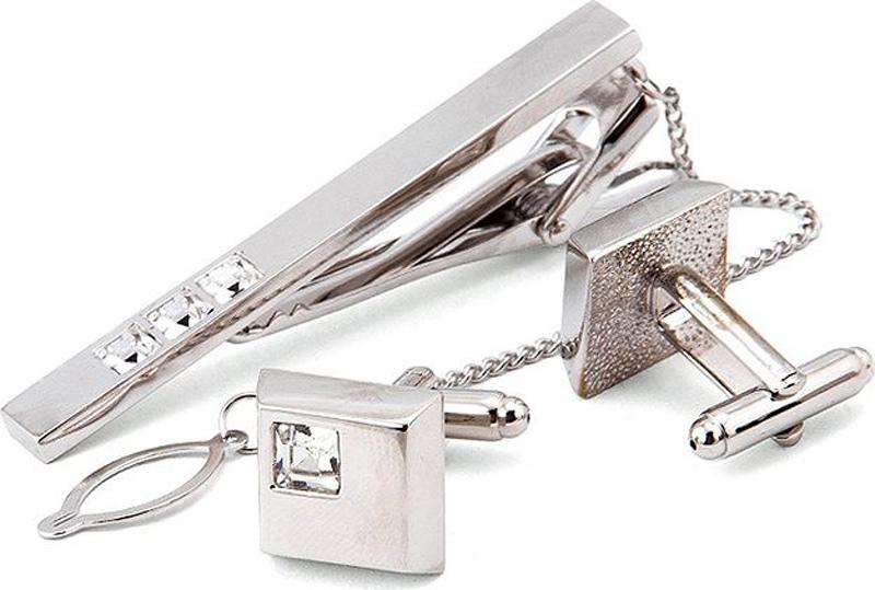 Подарочный набор мужской Greg: зажим для галстука, запонки, цвет: серебристый. 155753/Set запонки и зажимы для галстука hkyrd ia943 p