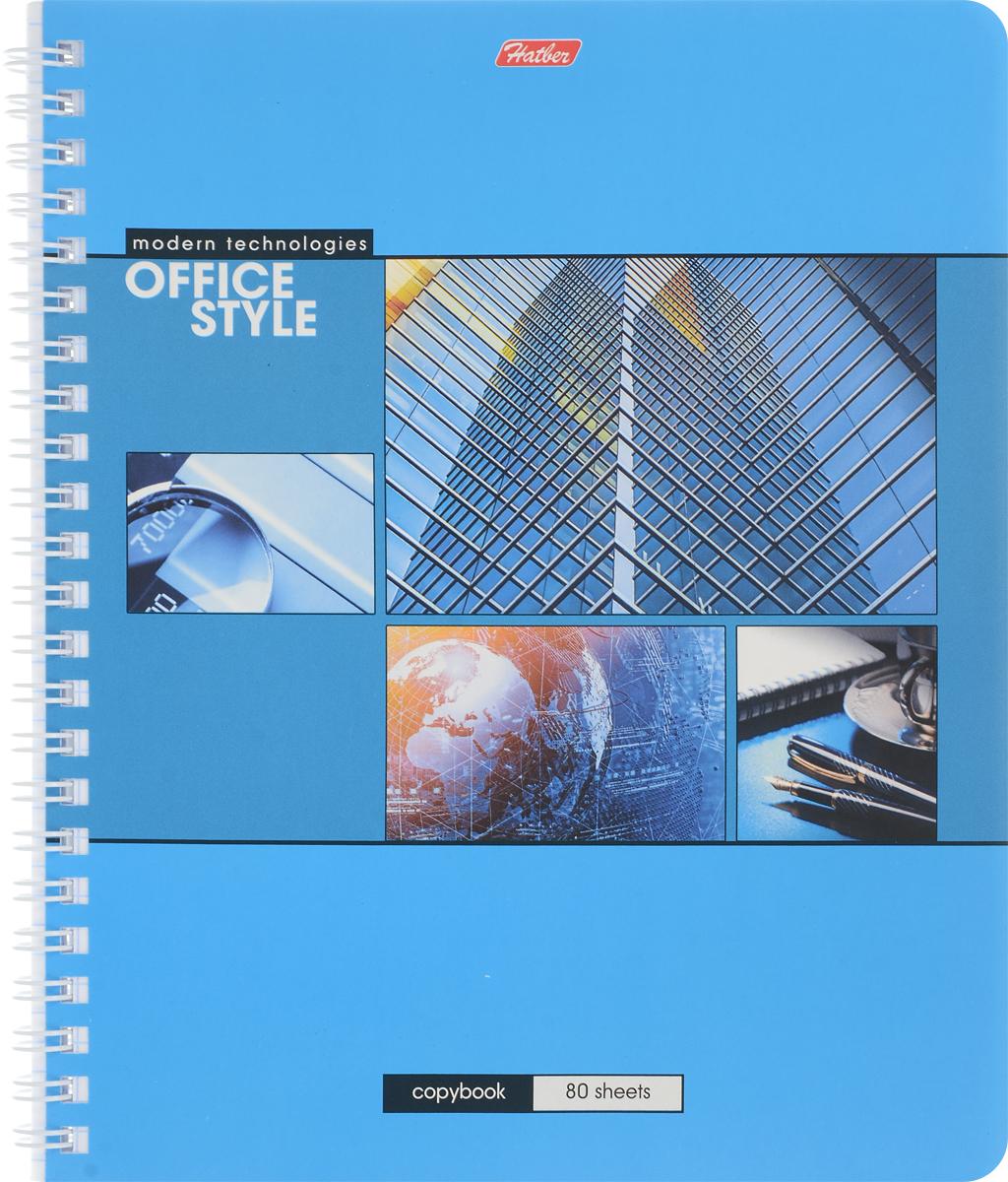 Hatber Тетрадь Офис 80 листов в клетку цвет голубой hatber тетрадь angry birds 48 листов в клетку цвет голубой розовый