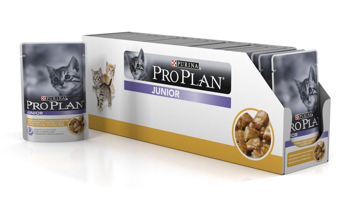 Фото - Консервы для котят Pro Plan Junior, с курицей в желе, 24 шт х 85 г консервы pro plan для котят с курицей 24 шт х 85 г