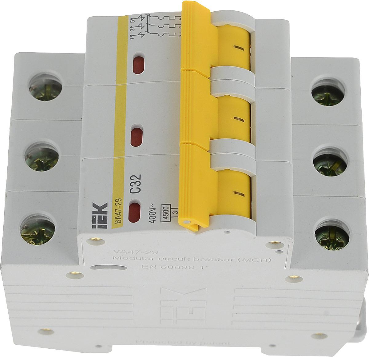 Выключатель автоматический IEK ВА 47-29, 3П С 32А 4500A