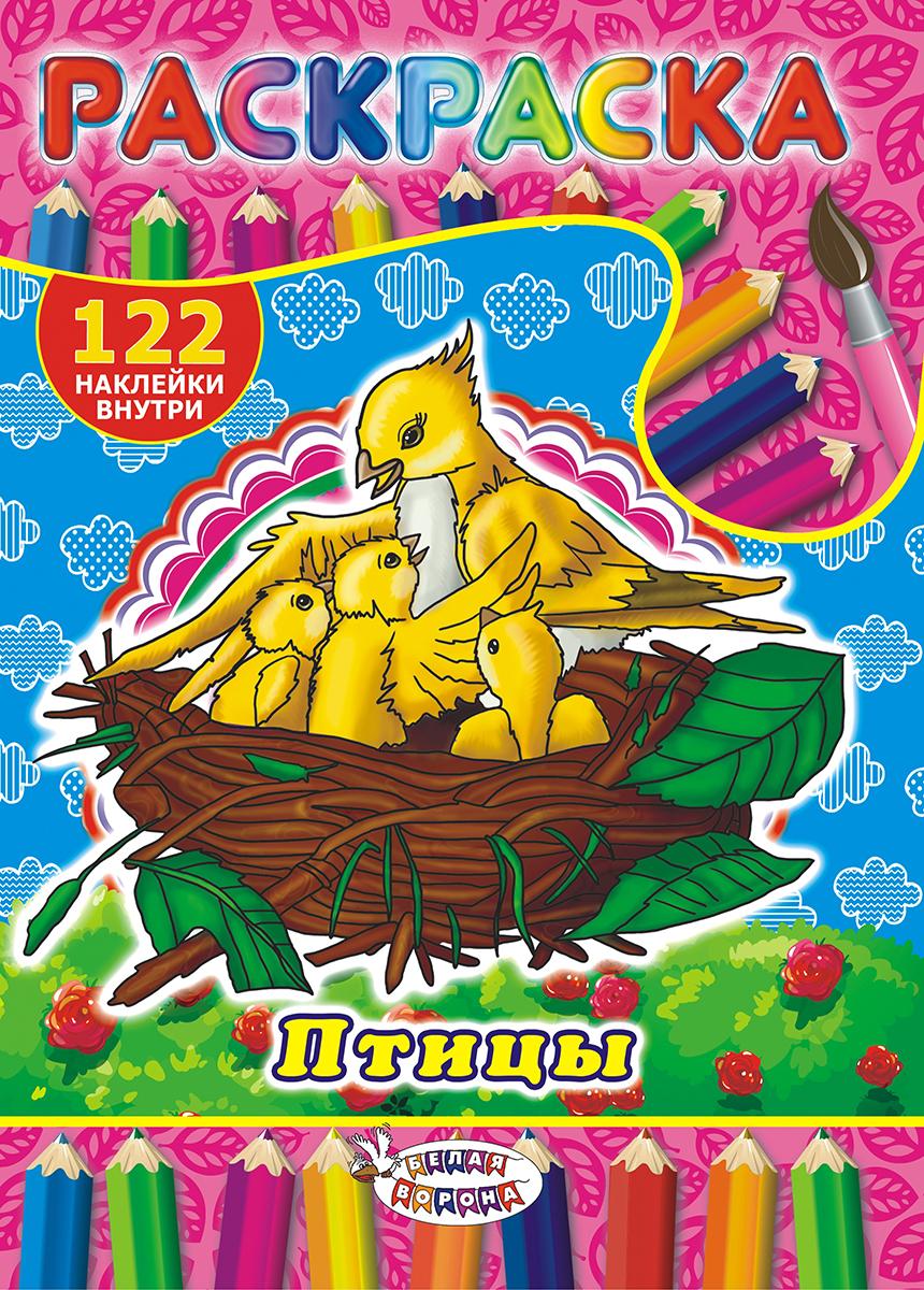 ЛиС Раскраска с наклейками А4 Птицы
