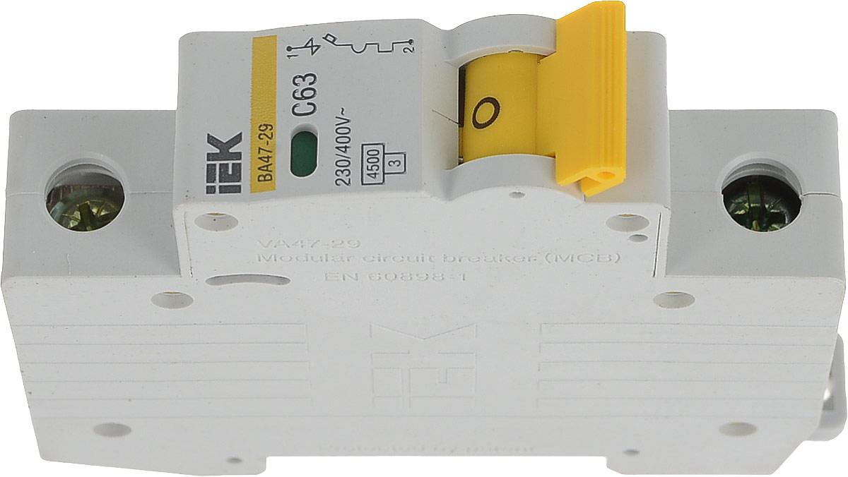 Выключатель автоматический IEK ВА47-29, 1П C 63А 4500А