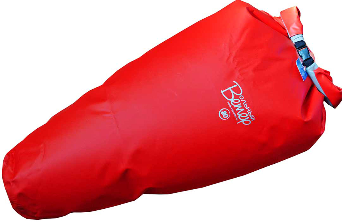 Гермомешок Вольный ветер Конус, цвет: красный, 80 л