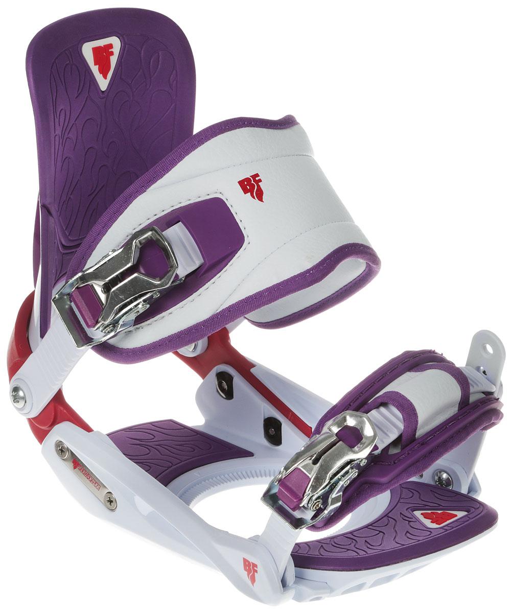 Крепления для сноуборда BF Snowboards SP Lady. Размер M/L9333725271204Красивый и одновременно надежный крепеж для девушек! Специальная удобная конструкция ремешка не передавливает ботинок. Регулировка газ педали позволяет усилить передачу энергии от ног к доске. Надежные металлические клипсы. Дизайн специально разработан для серии сноубордов Special Lady!