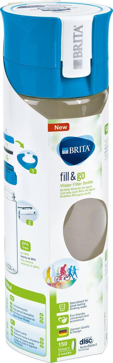 """Фильтр-бутылка Brita """"Fill & Go Vital"""", со сменным картриджем, цвет: голубой, 0,6 л"""