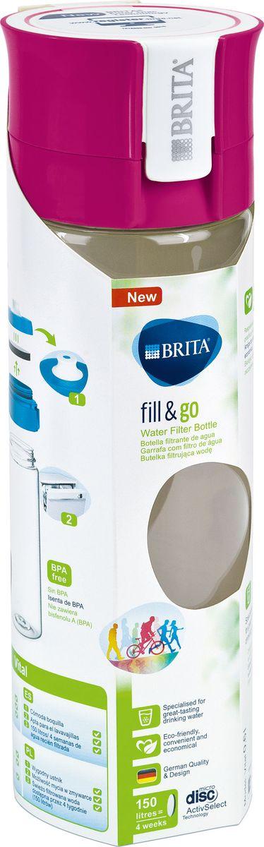 """Фильтр-бутылка Brita """"Fill & Go Vital"""", со сменным картриджем, цвет: розовый, 0,6 л"""