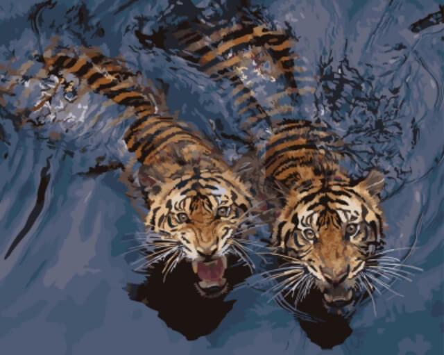 Набор для раскрашивания Цветной Мощные тигры в воде, 50 х 40 смGX5729Набор для раскрашивания Цветной Мощные тигры в воде состоит из размеченного и полностью готового холста, натянутого на деревянный подрамник. Холст состоит из хлопка 100 %. Он пропитан специальной смесью для нанесения акриловых красок. Краски акриловые на водной основе. Они в вакуумной упаковке. Кисти, подобранные по размеру для данной работы. Контрольный лист.