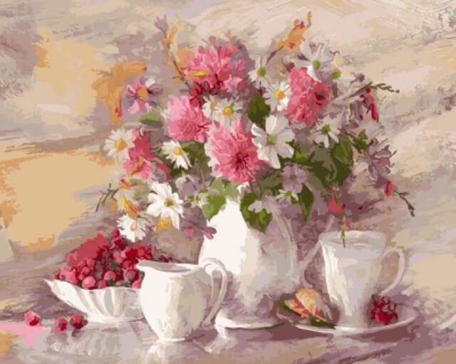 Набор для раскрашивания ТМ Цветной Цветочный натюрморт, 50 х 40 см цена