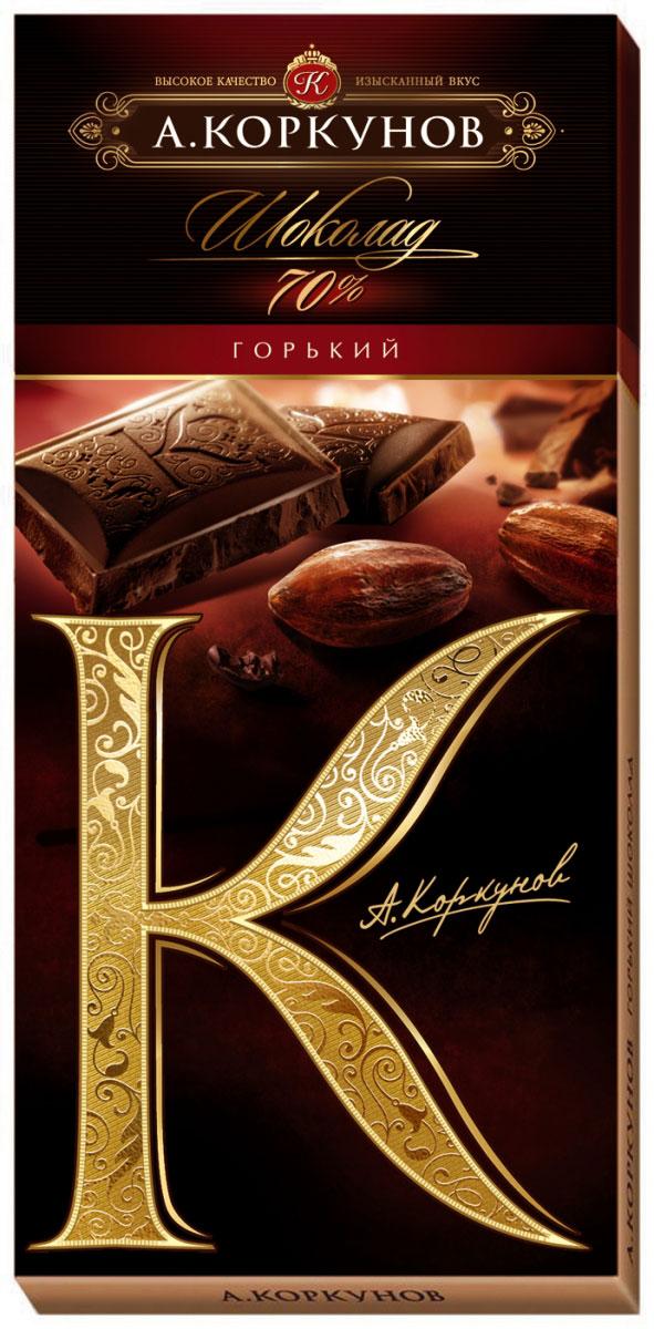 Коркунов горький шоколад 70%, 90 г спартак шоколад горький 90% 500 г