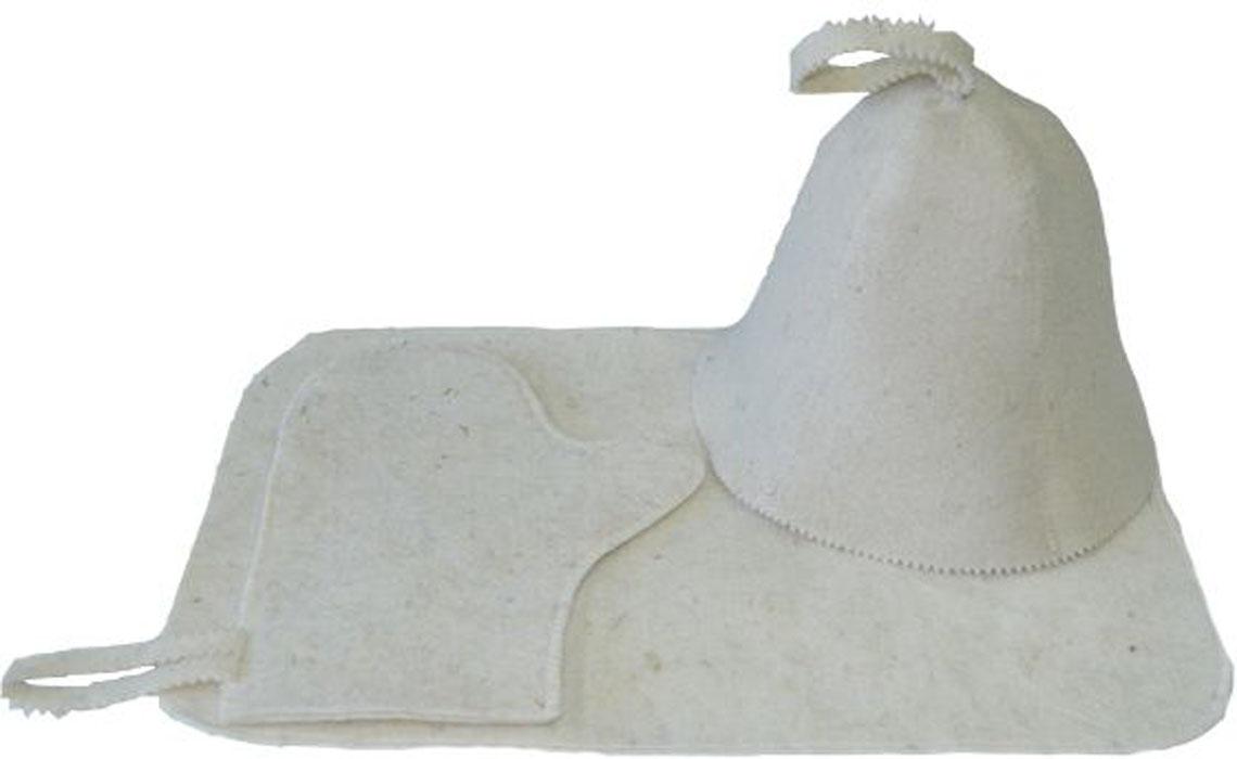 Набор для бани и сауны Ecology Sauna Классическая, цвет: белая шерсть, 3 предмета колпак для сауны ecology sauna двухцветный цвет синий белый