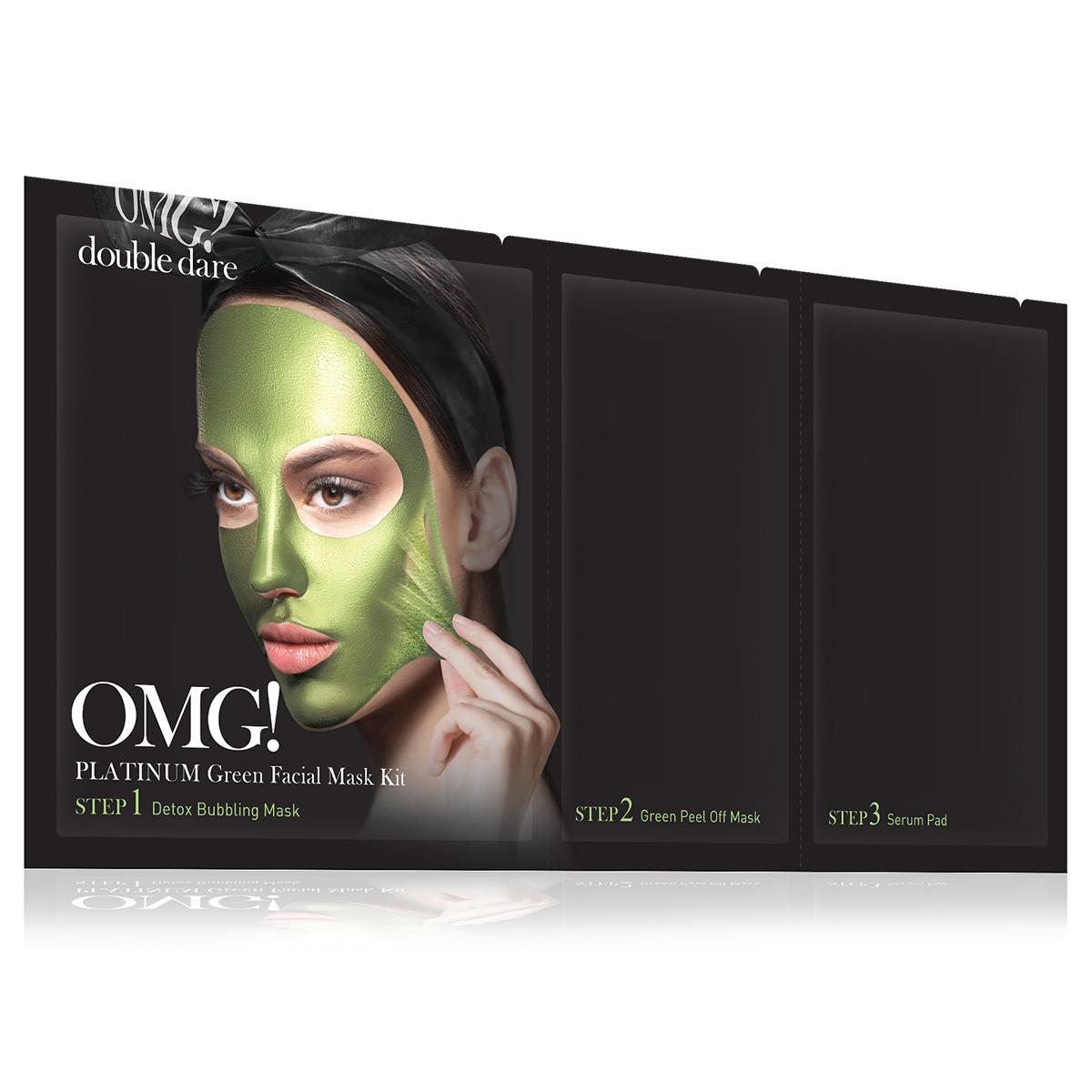 Double Dare OMG! Platinum Green Facial Mask Kit Маска трехкомпонентная для ухода за кожей лица зеленая маска пленка для придания упругости коже лица health