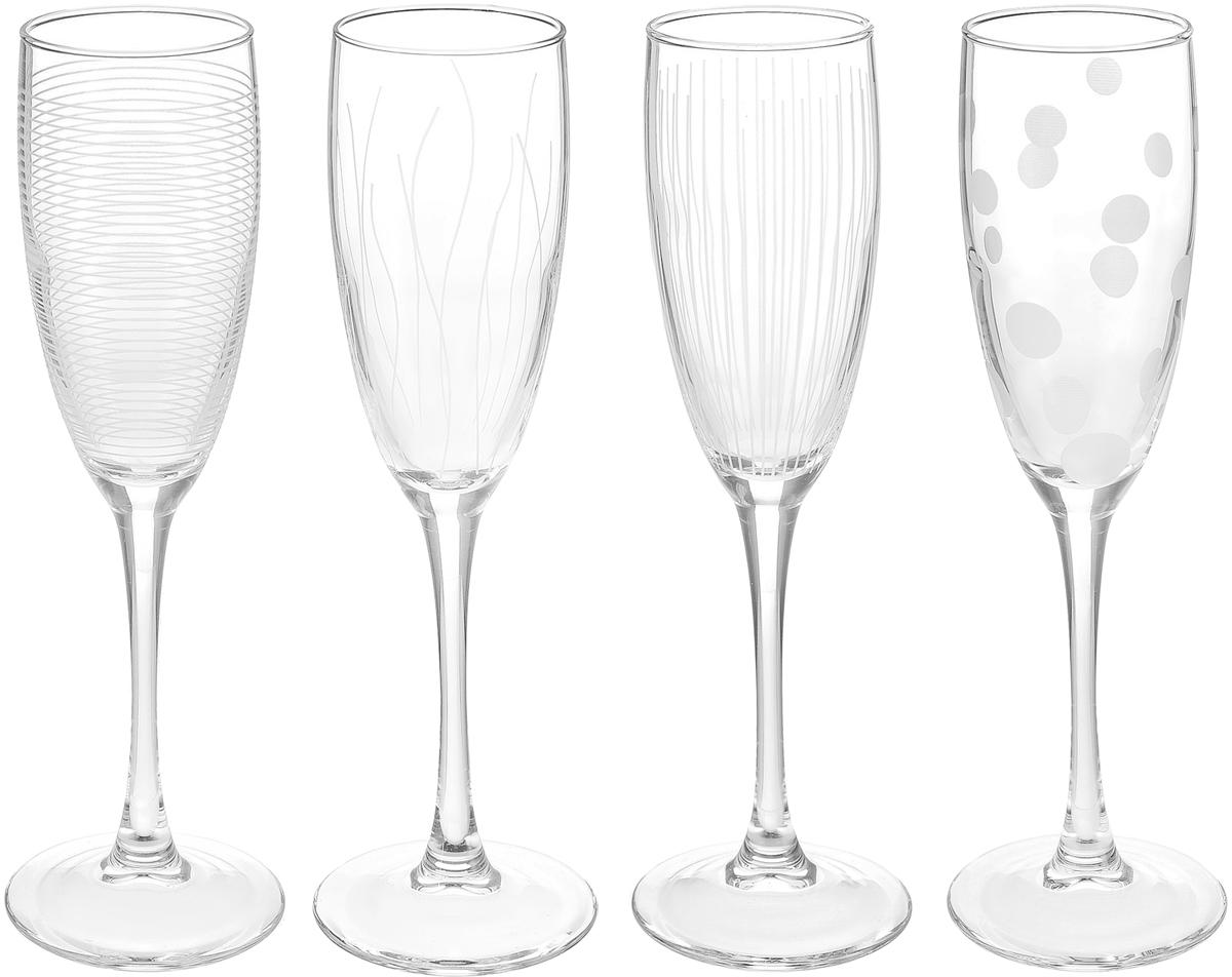 Набор фужеров для шампанского ОСЗ Лаунж Клаб, 170 мл, 4 шт набор стопок luminarc лаунж клаб 4шт 50мл стекло
