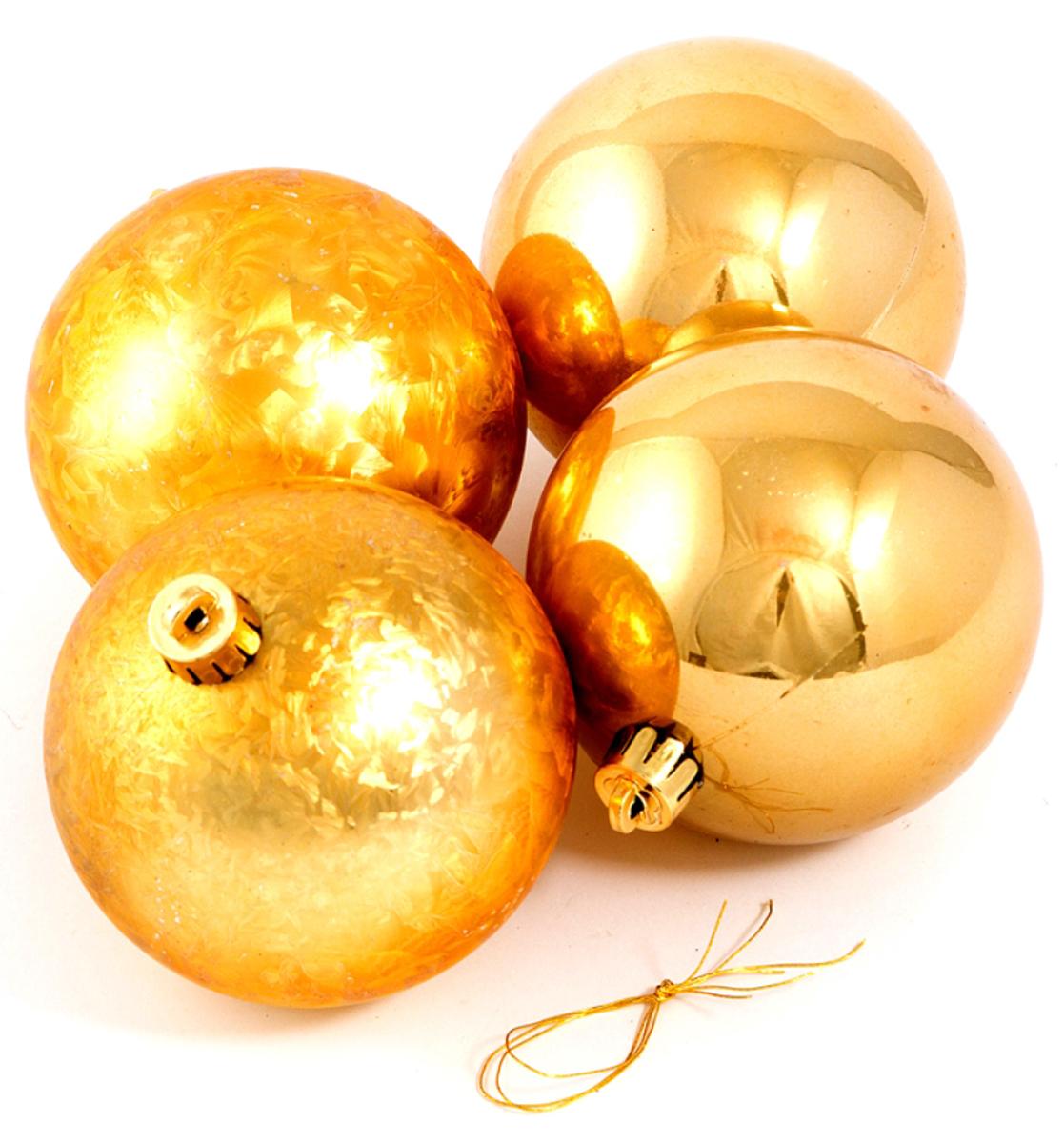 Набор ёлочных игрушек Шары из 4 шт, 80 мм золото . 71056 набор ёлочных игрушек русские подарки шары цвет серебристый 8 см 4 шт
