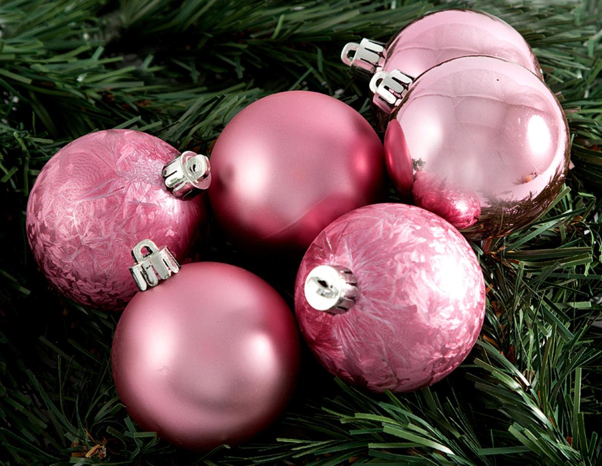 Набор новогодних подвесных украшений Шары, цвет: розовый, диаметр 60 мм, 6 шт елочная игрушка русские подарки шары цвет розовый 12 шт