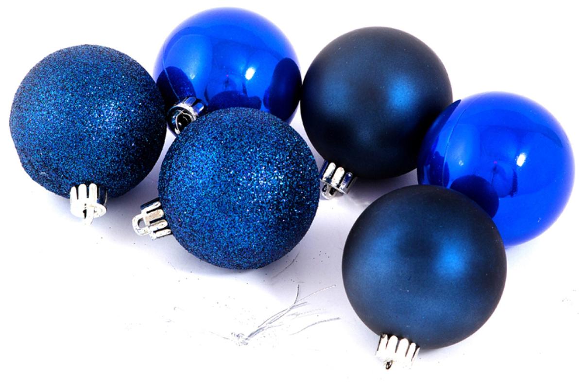 """Набор елочных игрушек """"Шары"""", цвет: синий, диаметр 6 см, 6 шт. 71070"""