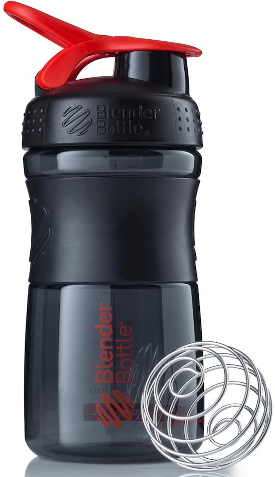 """Шейкер спортивный BlenderBottle """"SportMixer"""", цвет: черный, красный, 591 мл"""