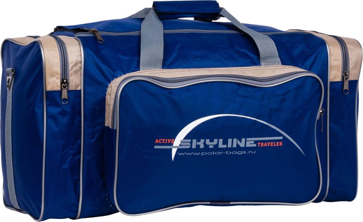 Сумка спортивная Polar, цвет: синий, бежевый, 50 л. 6008/6 сумка спортивная polar цвет синий оранжевый 30 5 л 6007