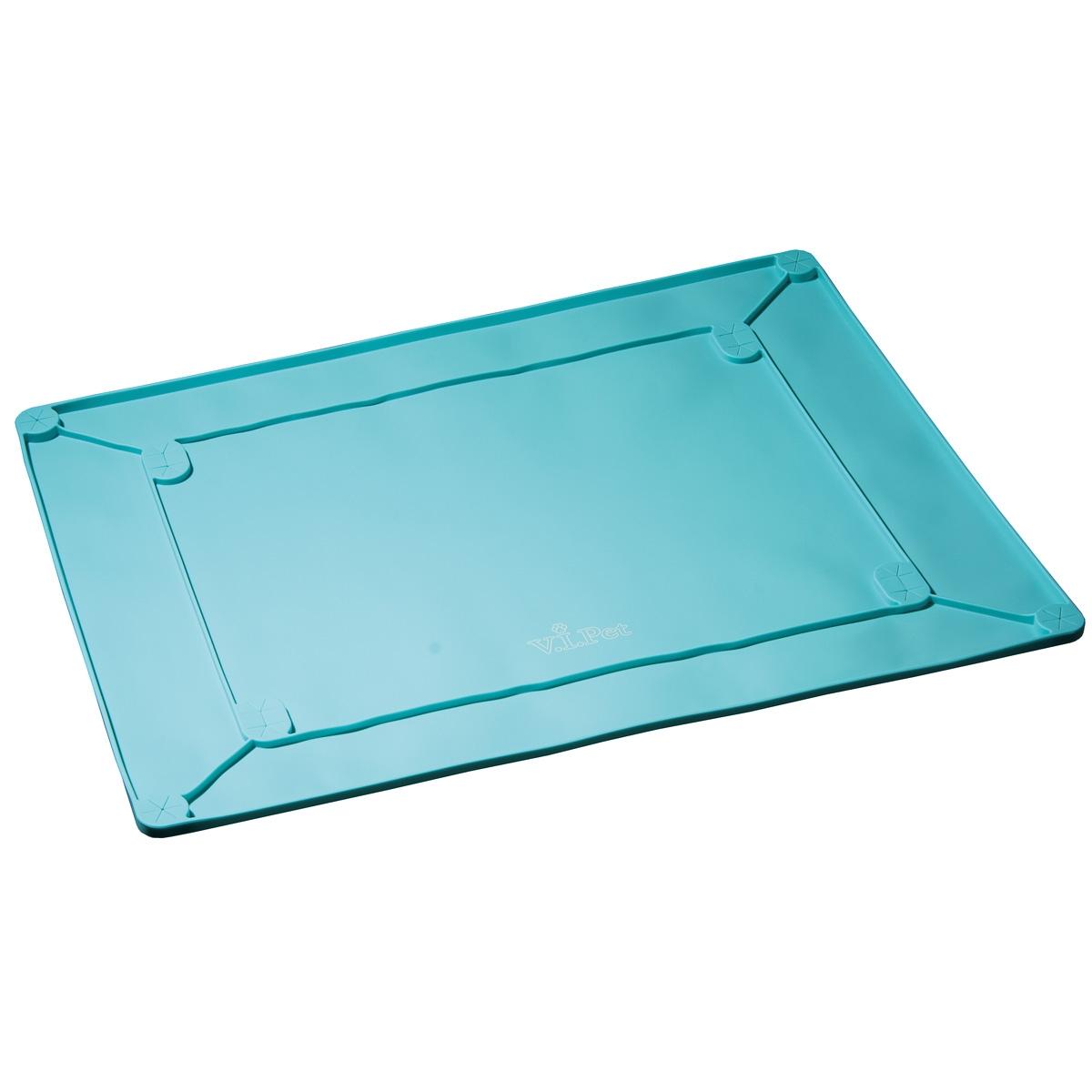 """Туалет-коврик с бортиками """"V.I.Pet"""", силиконовый, под пеленку, цвет: бирюзовый, 60 х 45 см"""