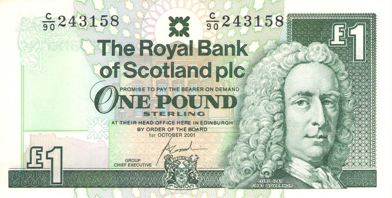 Банкнота номиналом 1 фунт. Шотландия, 2001 год банкнота номиналом 1 кип лаос 1962 год au