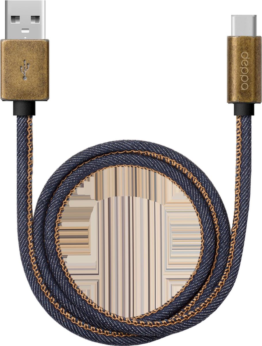 Deppa Jeans дата-кабель USB Type-C, Blue (1,2 м)