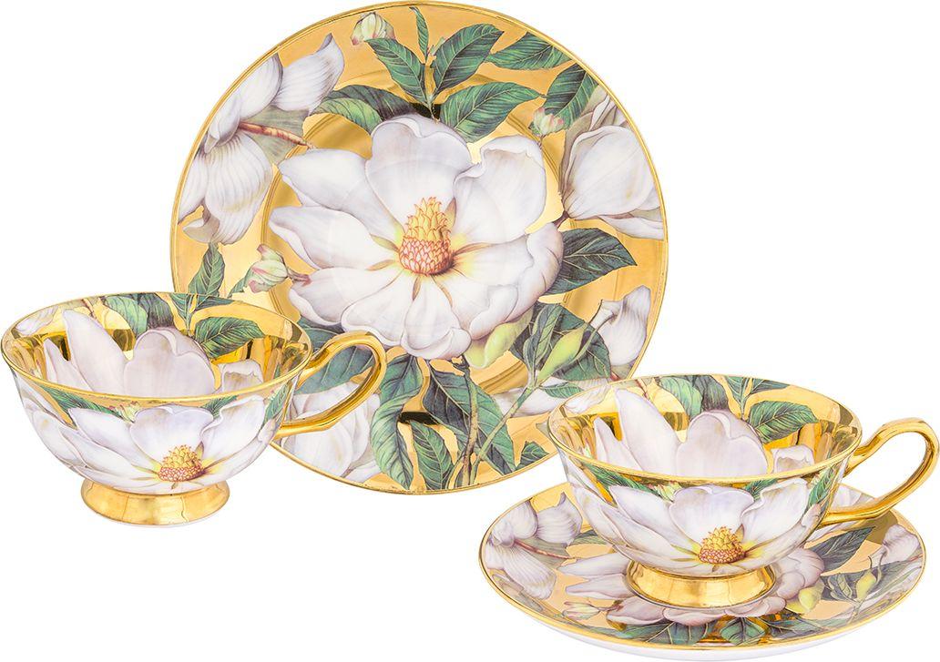 Набор чайный Elan Gallery Белый шиповник, цвет: золотистый, 4 предмета блюдо для горячего elan gallery белый шиповник 42 х 22 5 см